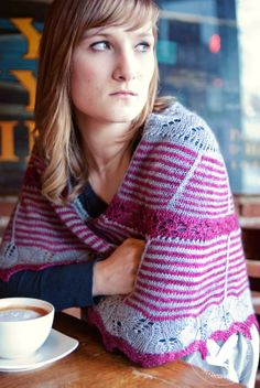 ROSARIA | 2014 Rose City Yarn Crawl Mystery Knit Along Shawl | Knitting pattern by Michele Lee Bernstein; image by Joanna Schilling of Ember Owl Photography; modeled by Bethany Henscheid.