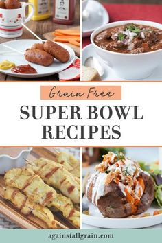 This is the ultimate collection of grain-free recipes for your Super Bowl celebration! I've included hearty paleo friendly options like chili and easy gluten-free appetizers and finger food for game day. #superbowlrecipes #grainfree #paleo