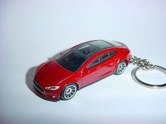 8e7a6b01bec8 3D Tesla Model S custom keychain by Brian Thornton keyring key chain  finished in dark red trim electric car awd models