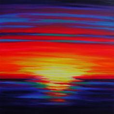 ARTFINDER: Sunset Echoes by Julia Everett - Sunset Echoes is a vivid abstract sunset in neon colours in oil and acrylic paint on a 70x70cm deep 4cm box canvas. Inspired by the vivid sunsets on the rive...