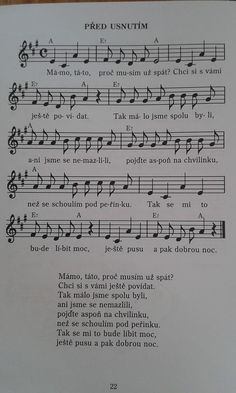Před usnutím písnička Sheet Music, Songs, Song Books, Music Sheets