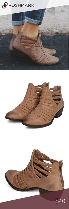 Taupe Braided Detail Ankle Bootie Super cute boots, brand new in box. Ordered two pair of these in different colors, decided not going to keep this pair. Qupid Shoes Ankle Boots & Booties