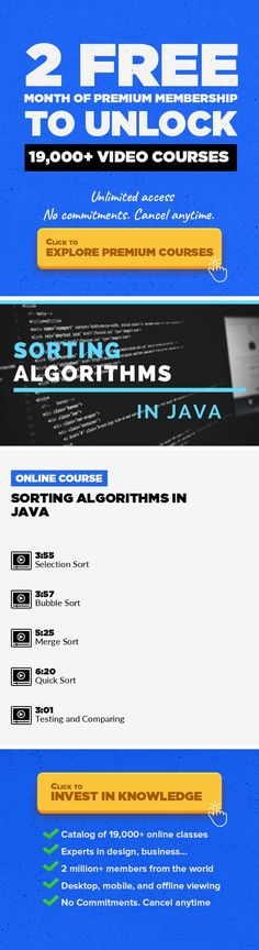 Sorting Algorithms in Java Technology, Engineering, Game Development, Java, Software, Interviewing, Projects, Data Science, Programming Foundations #onlinecourses #CoursesBudget #onlinetrainingtipsI will show you how Sorting aglorithms are actualy implemented This course is extension to my theoretical course on sorting algorithms where i go through the ideas of these algorithms. So if you haven...