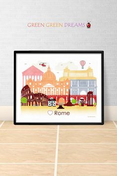 Rome poster print wall art printable Rome Italy Rome skyline City poster Instant download Home decor Digital print Europe Travel Theme Nursery, Nursery Themes, Wall Art Prints, Poster Prints, Travel Themes, Rome Italy, Printable Wall Art, Digital Prints, Give It To Me