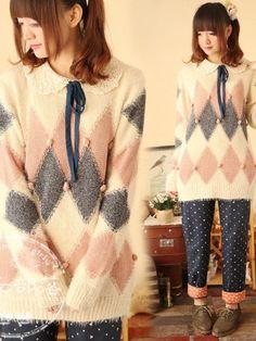"Mori Girl ""fuzzy diamond"" sweater from www.asianicandy.com"