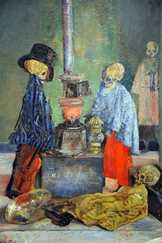 James Ensor - skeletons warming themselves James Ensor, Modern Art, Contemporary Art, Dance Of Death, Organic Art, Danse Macabre, Fantastic Art, Dark Night, Horror Art