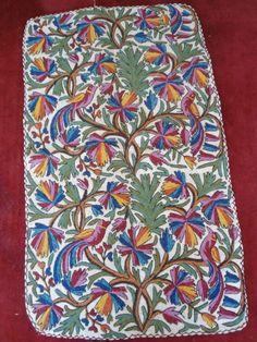Kashmir Crewel Hand Embroidered Wool Rug Namdha Flatweave 3x5 Tree Of Life 1