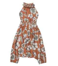 FEATHER DRUM - Ruffle Neck Harem Jumpsuit / Tan Flora Not Fauna