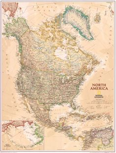 North America Map 1924 By National Geographic | Vintage National ...