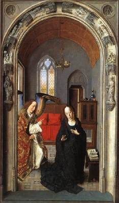 The Annunciation (from the Polyptych of the Virgin) - Dieric Bouts.  1445.  Oil on wood.  80 x 56 cm.  Museo del Prado, Madrid, Spain.
