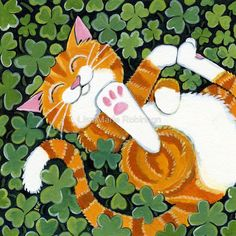 As Happy as a Kitty in a Patch of Clover - Lisa Marie Robinson Animal Projects, Art Projects, Cat Character, Cat Cards, Ginger Cats, Here Kitty Kitty, Cat Drawing, Cute Art, Creative Art