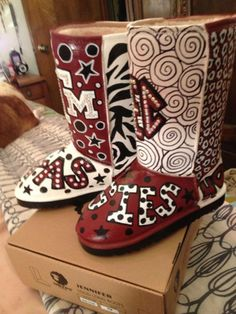 """Texas Aggie """"Ugg"""" type boots:  by:  Karen Laughlin"""