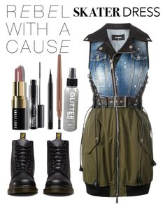 """Untitled #228"" by universal-mess on Polyvore featuring Dr. Martens, Dsquared2, Bobbi Brown Cosmetics and MAC Cosmetics"