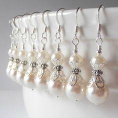 Ivory Pearl Bridesmaid Earrings Swarovski Crystallized Elements Cream Pearl Wedding Jewelry Sets Beaded Earrings Bridesmaid Gift on Etsy, $15.00
