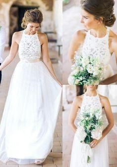 Long Wedding Dress, Tulle Wedding Dress, Halter Bridal Dress, Backless Wedding Dress, Lace Wedding Dress, Floor-Length Wedding Dress, White Wedding Dress,E0458