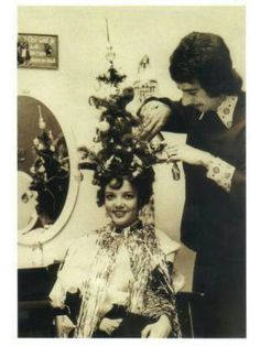 Vintage Christmas hair humor