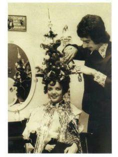 Hair Humor | Vintage Christmas tree #funny #hair #photos #pmtslombard