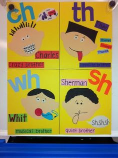 """anchor charts for teaching phonics. The """"h"""" Brothers Teaching Phonics, Phonics Activities, Teaching Reading, Learning, Teaching Ideas, Literacy Worksheets, Jolly Phonics, Comprehension Worksheets, English Activities"""