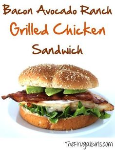 Give your ordinary grilled chicken a flavor-packed makeover with this super yumm… Give your ordinary grilled chicken a flavor-packed makeover with this super yummy Bacon Avocado Ranch Grilled Chicken Sandwich Recipe! Grill Sandwich, Chicken Bacon Ranch Sandwich, Roast Beef Sandwich, Grilled Chicken Sandwiches, Chicken Sandwich Recipes, Burger Recipes, Pesto Sandwich, Sandwich Ideas, Lunch Recipes