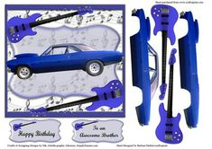 Blue Guitar Music Blue Hot Car Card topper with Decoupage on Craftsuprint - Add To Basket!