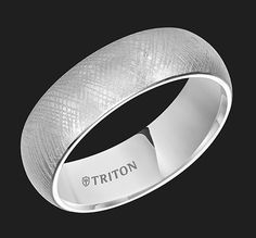 For the rings...7mm White Tungsten Domed Comfort Fit band with Florentine Finish