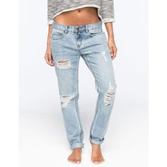 Billabong New Boy Womens Boyfriend Jeans ($70) ❤ liked on Polyvore featuring jeans, light blast, destroyed jeans, zipper jeans, boyfriend fit jeans, ripped boyfriend jeans and destructed boyfriend jeans
