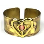 Brass Tiger Eye Heart Cuff - $39.60 : FairTrade Goods, Unique, Handmade, EcoFriendly, Fairtrade