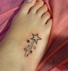 Photos Star Foot Tattoo Designs For Women Star Foot Tattoo Design . Star Foot Tattoos, Star Tattoo On Wrist, Small Star Tattoos, Shooting Star Tattoo, Wrist Tattoos, Mini Tattoos, Arm Band Tattoo, Body Art Tattoos, Swirl Tattoo