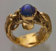 Art Nouveau Ring - The Lizard & The Bird