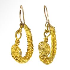 Greek Gold Earrings, 5th-4th Century BCFormed of twisted gold wire, modern loops