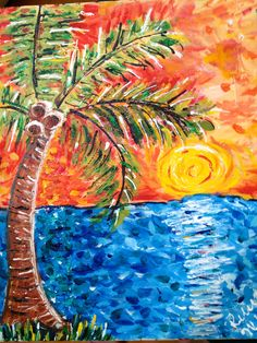 sunset palm tree painting  16x20  $75  original mixed media