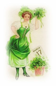 Image detail for -free vintage St Patricks Day clip art woman with March 17 calendar ...
