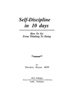 Self-Discipline in 10 days - How To Go From Thinking To Doing