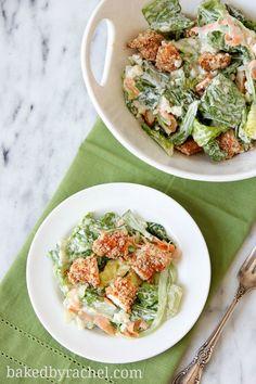 Buffalo Chicken Tender Salad with Blue Cheese Dressing Recipe from bakedbyrachel.com