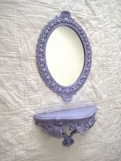 Vintage Mirror / Vanity Tray in French Lilac. Lilac Bedroom, Periwinkle, Purple, French Lilac, Mirror Vanity Tray, Paris Chic, Salon Ideas, Cottage Chic, Furniture Makeover
