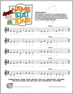 Learn Music Theory with our Free Printable Name That Tune Treble Clef Note Name Worksheet. Music Theory Games, Music Theory Worksheets, Music Notes, Music Music, Sheet Music, Piano Sheet, Piano Music, Music Flashcards, Piano Lessons For Kids