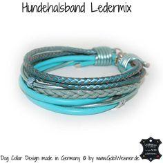 Hundehalsband Ledermix Türkis