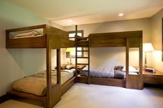 Cute L Shaped Bunk Beds for Children Bedroom: Awesome L Shaped Bunk Beds In Contemporary Bedroom With Dark Brown Woode Basic Material And Br...