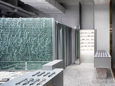 A knitted wall attracts the eye in a Seoul optician's shop - News - Frameweb
