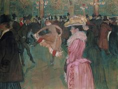 "Happy birthday to French artist Henri de Toulouse-Lautrec. With its top hats and cancan dancing, this famous work of his depicts a wild night in Paris at the Moulin Rouge. ""At the Moulin Rouge: The Dance,"" by Henri de Toulouse-Lautrec Henri De Toulouse Lautrec, Belle Epoque, Maurice Utrillo, Georges Seurat, Philadelphia Museum Of Art, Philadelphia Pa, Oil Painting Reproductions, Caravaggio, Le Moulin"