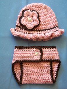 Crochet Baby Hat Diaper Cover Set Newborn by crochethatsbyjoyce