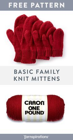 If you're looking for a great item for donation, look no further than these beginner-friendly mitts. When it comes to value, nothing beats Caron One Pound. You'll be able to make up to 12 pairs of… Knitted Mittens Pattern, Baby Sweater Knitting Pattern, Beginner Knitting Patterns, Crochet Mittens, Knitting For Beginners, Loom Knitting, Free Knitting, Baby Knitting, Crochet Pattern