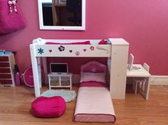 10 Cute Journey Girls Bedroom Set Ideas For Your Home Doll Bunk Beds, Bunk Bed Sets, Girls Bunk Beds, Girls Bedroom Sets, Girls Bedding Sets, Bedroom Ideas, Bunk Beds With Drawers, Bunk Beds With Storage, American Girl Bedrooms