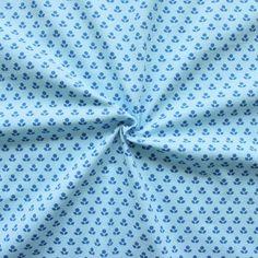 "Baumwoll Stretch Jersey ""Blümchen abstrakt"" Farbe Hell-Blau"