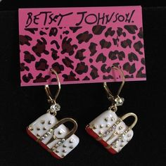 "BJ Bag earrings Two toned bags with gold hearts.  Gold lever back closure. Diamond like accents.  Drop length approximately 1.5"".  Packaged as shown in first pic. Betsey Johnson Jewelry Earrings"