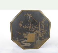 vintage eight sided tea tin with spout and Asian by mudintheUSA