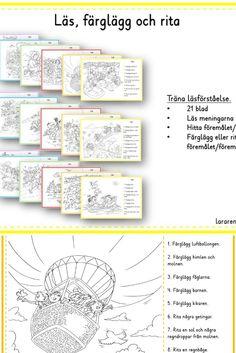 Läs, färglägg och rita - träna läsning  24 blad Läs meningarna Hitta föremålet/föremålen Färglägg eller rita föremålet/föremålen School Posters, Language, Writing, Reading, Children, Tips, Cold, Young Children