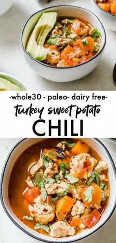 Turkey Sweet Potato Chili - a approved chili recipe that uses sweet potato in place of beans and is ready in just 30 minutes! Turkey Sweet Potato Chili - a approved chili recipe that uses sweet potato in place of beans and is ready in just 30 minutes! Whole 30 Soup, Paleo Whole 30, Whole 30 Recipes, Healthy Soup Recipes, Chili Recipes, Real Food Recipes, Turkey Sweet Potato Chili, Sweet Potato Recipes, Sweet Chili