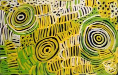 Awelye & Bush Melon by Minnie Pwerle from Utopia, Central Australia created a 144 x 92 cm Acrylic on Belgian Linen painting SOLD at the Aboriginal Art Store
