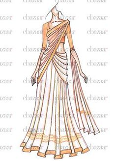 Latest EthnoVogue Fashion Dresses Online For Women's - Cbazaar India Fashion, Hijab Fashion, Fashion Dresses, Body Sketches, Dress Sketches, Fashion Illustration Sketches, Fashion Design Sketches, Lehenga Choli, Lehenga White